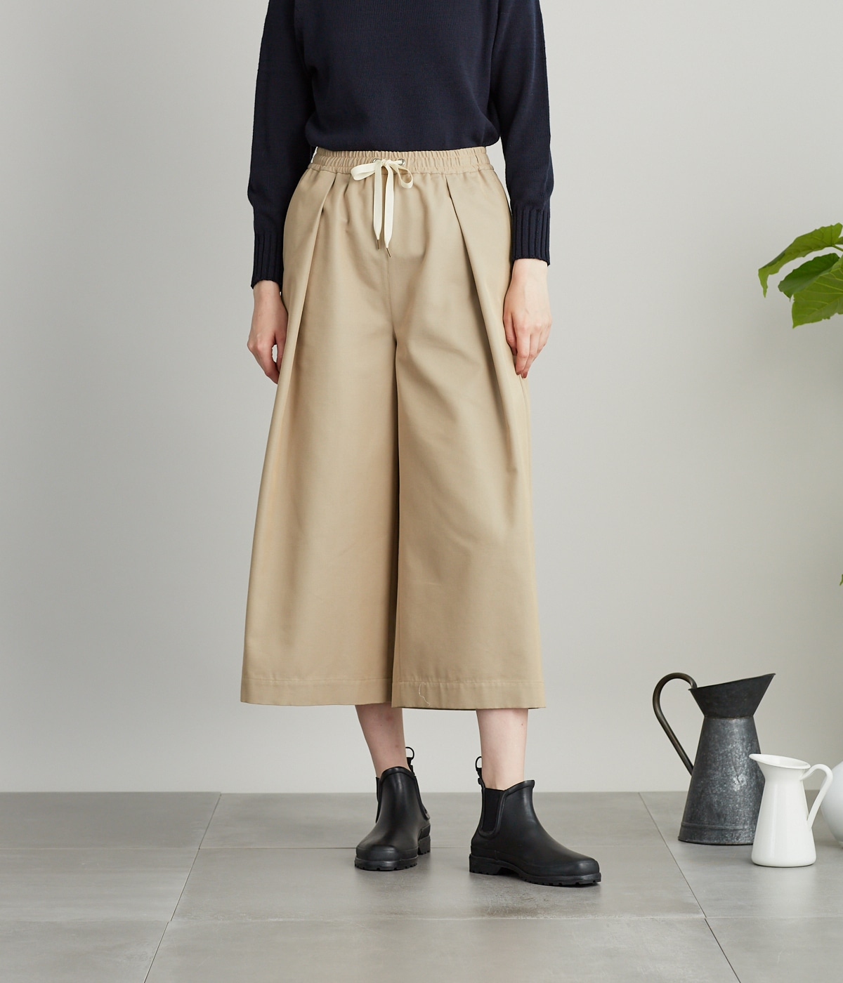 Organic Cotton Wool Gabardine ロングキュロット