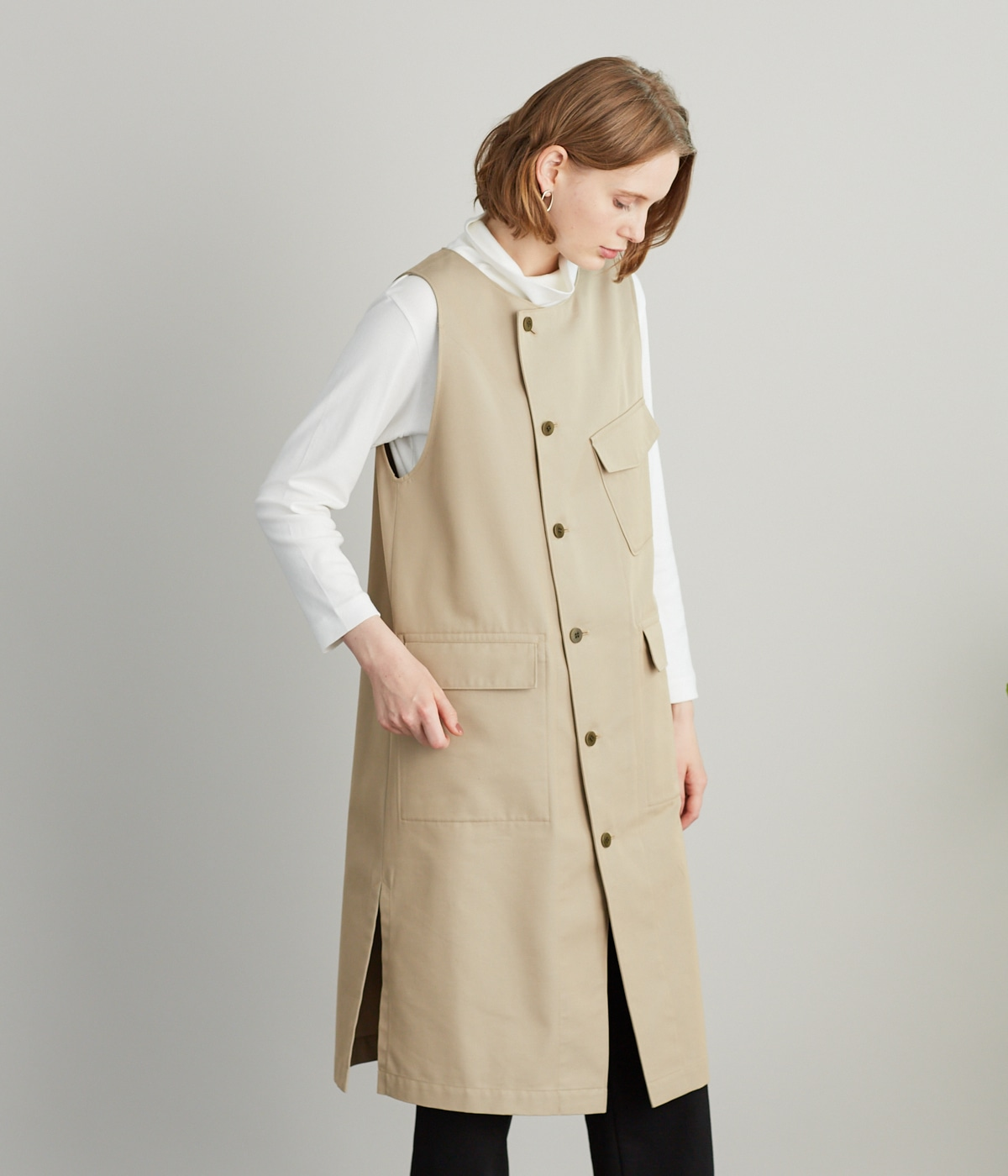 Organic Cotton Wool Gabardine  ライダースワンピース
