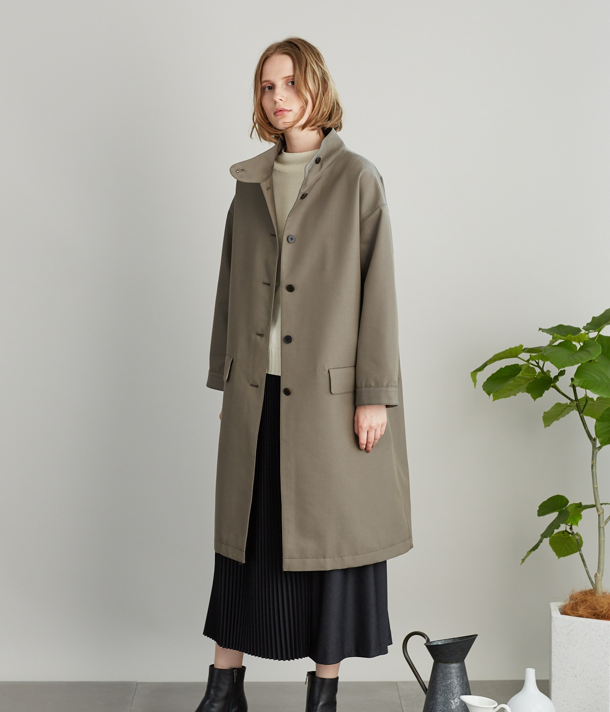 Organic Cotton Wool Gabardine ケープデザインコート