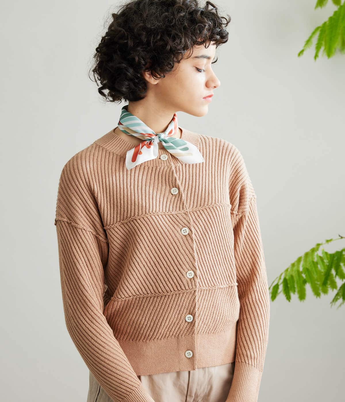 Linen Cotton Drop Needle Knitting ショートカーディガン