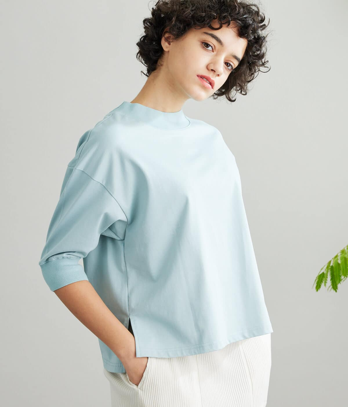 [Lotus] Suvin Cotton Plating Jersey モックネックカットソー